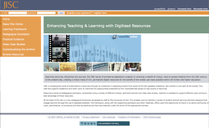 JISC Screenshoot Enhancing Teaching and Learning with Digitised Resources